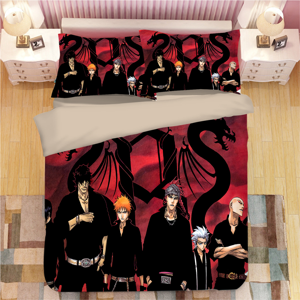 Cartoon Anime Bedding Sets Death Red Duvet Cover Sets Fashion Kids Quilt Cover Single Double Queen King Good Quality Bedclothes