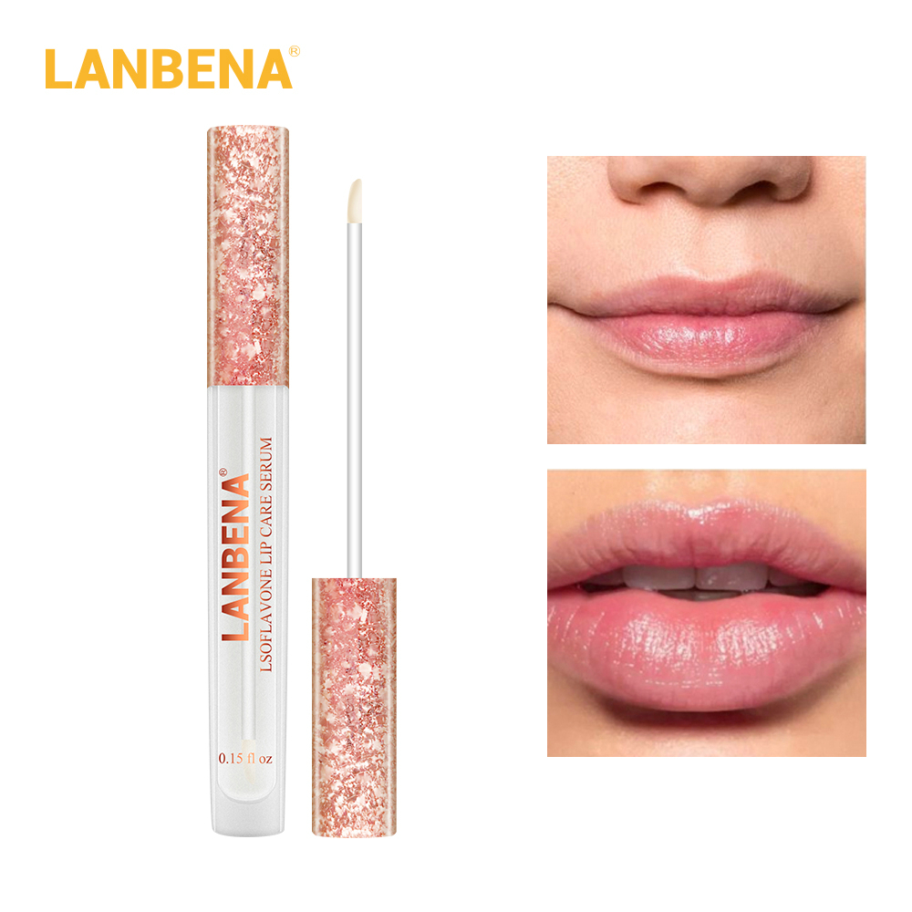 LANBENA Lsoflavone Lip Care Serum Lips More Plump Lips Enhance Lip Elasticity Reduce Wrinkles Repair Moisturizing Beauty