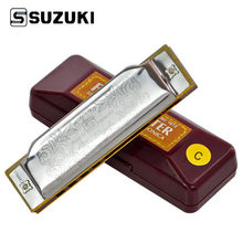 SUZUKI Folkmaster 1072 Harmonica Standard Beginner Diatonic Blues Gaita 10 Holes Key of A C D E F G Musical Instrument(China)