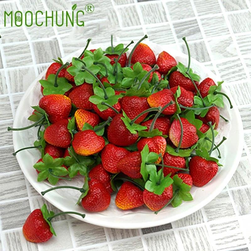 Fake Strawberries Realistic Lifelike Decorative Artificial Strawberry Fruit For Decoration Arrangements Home House Kitchen Decor Fruits Aliexpress