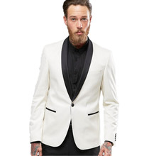 custom Made Slim Fit White Male Blazer Black Lapel Men's Wedding Prom Suits Formal Dinner Tuxedos 2 Pieces Best Man Costumes