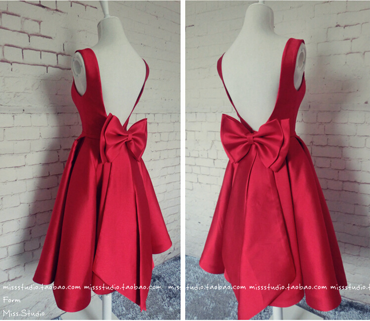 real photos a-line 2018 new design hot sexy backless bow red satin custom knee-length short Prom party gown   bridesmaid     dresses