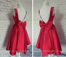 real photos a-line 2015 new design hot sexy backless bow red satin custom knee-length short Prom Dresses evening dress