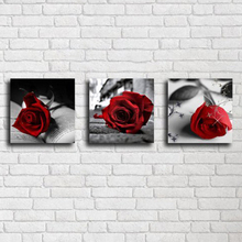 Black And White Red Rose Diamond Painting Embroidery Beaded Cross Stitch Full Round Wall Decor Needlework Home Crafts