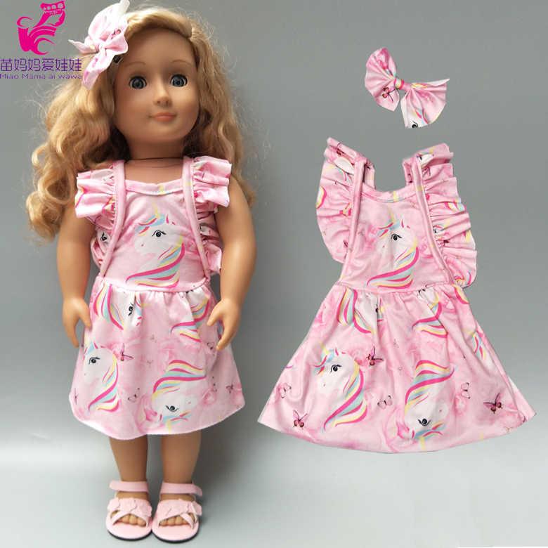 18 cal amerykańskie ubrania dla lalek jedno ramię flared spodnie lalki pasiasta koszula spodnie jeansowe dla lalek