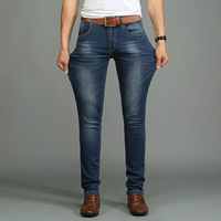 Kore Moda Bahar Sonbahar 2016 Yeni Stil erkek Kot Streç İnce Ayak Deri Vurdu Jeans Erkek Denim Pantolon Artı boyutu