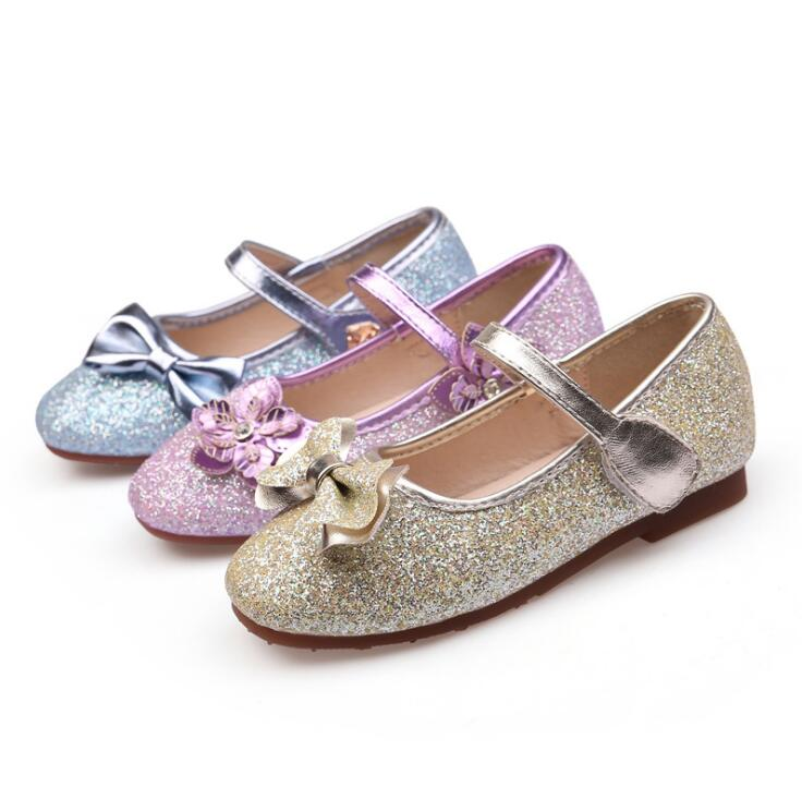 2018 Spring and Autumn New Cute Fashion Flower Bow Princess Shoes Casual Girls Children Students Crystal Sequins Shoes Tricolor