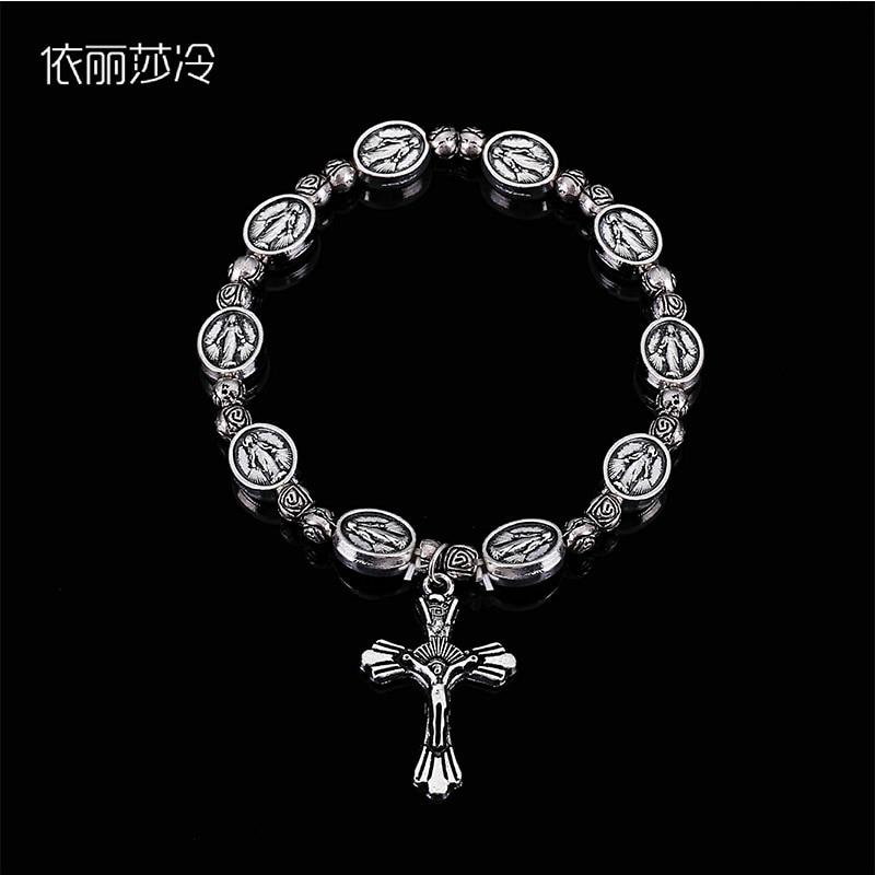 48 Pieces / Jesus Cross Bracelet Vintage Gold and Silver Jesus Jewelry Rosary Heart St. Mercy Icon Religious Bead Bracelet