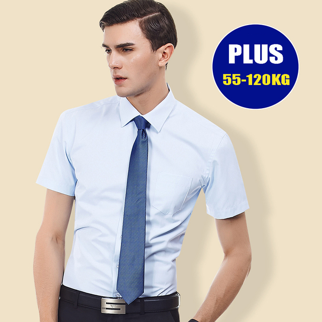 2017 New Arrival Mens Shirt Short Sleeve Business Style 8 Color Available Plus Size Office Shirt Man Casual Work Shirt Slim MQ42