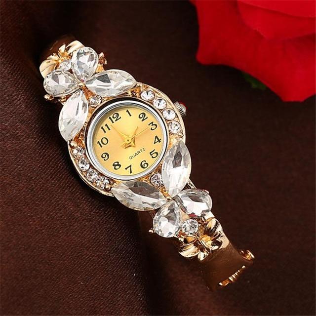 Fashion Gold Watches Bracelet Watch Women Butterfly Gemstone Classic Alloy Wrist