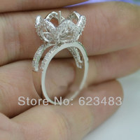 Natural Diamond 10mm Pearl 14K White Gold Engagement Wedding Semi Mount Ring