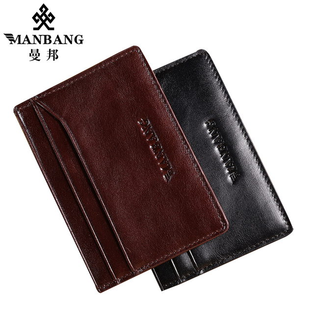 Manbang New 2017 Men's leather Card wallet Ultra-thin Leather Wallet Genuine leather cowskin Driver's Leather Case MBK1201