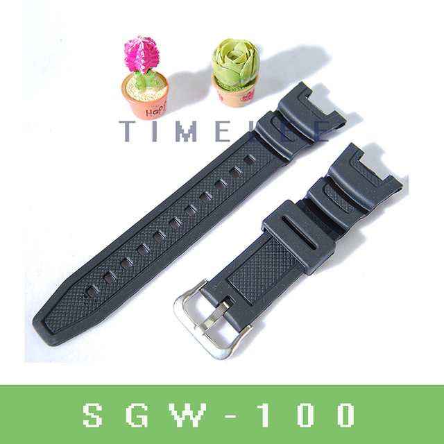 Black Silicone Rubber waterproof Strap Replacement for casio SGW-100 Driving Spo