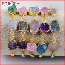 BOROSA Fashion Gold Color Multi Druzy Adjustable Rainbow Cord Bracelet, Mix Color Rainbow Drusy Bracelet Bangle Jewelry G1440