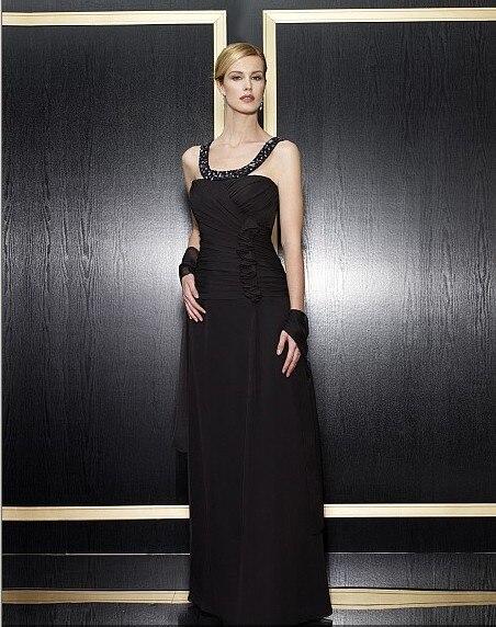 Maxi Formal Gown 2018 New Design Vestidos De Festa Beaded Black Chiffon Long Party Evening Elegant Mother Of The Bride Dresses