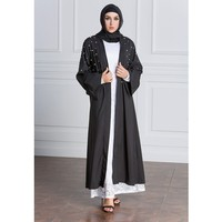 Zmvkgsoa Nieuwe Moslim Jurk Volwassen Plus Size Abaya Arabische Fashion Turkije Midden-oosten Parel Vest Jurken Muzikale Gewaad Ramadan Y164
