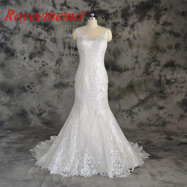 Champagne e avorio speciale di disegno del merletto vestito da cerimonia nuziale classico di stile della sirena abito da sposa su ordine della fabbrica di prezzi allingrosso