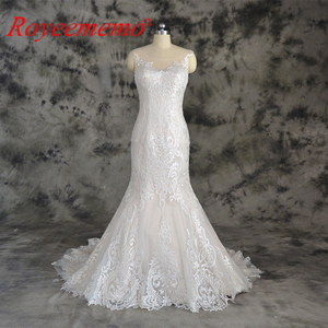 Image 1 - champagne and ivory special lace design wedding dress classic mermaid style wedding gown custom made factory wholesale price