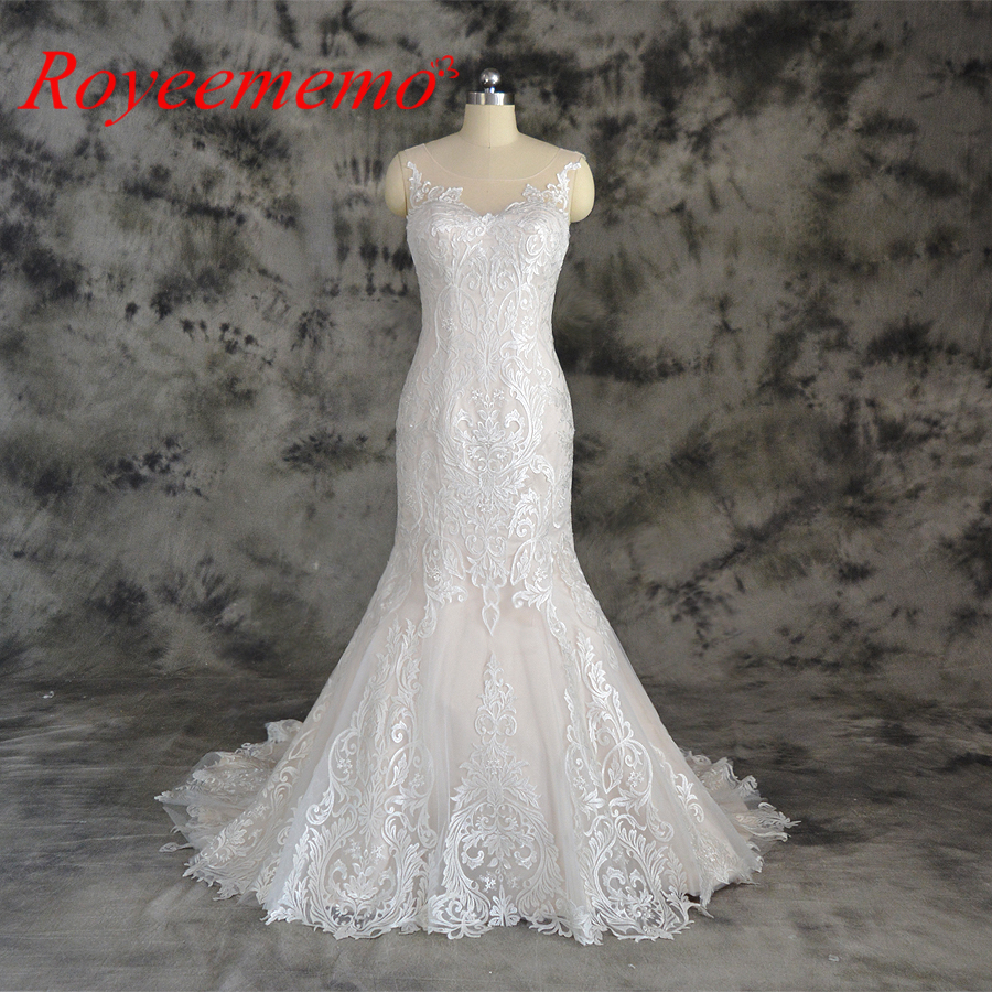 Classic Ivory Wedding Dresses: Champagne And Ivory Special Lace Design Wedding Dress