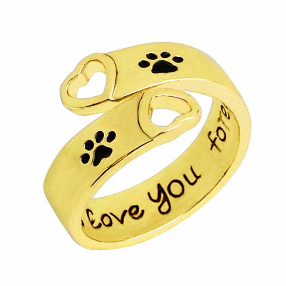"""Cópia Da Pata do cão Do Coração Oco Anel Pata Mão Carimbada """"EU VOU te amar para sempre"""" Cães Garras Pegadas de Amor anéis de Presente"""