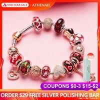 ATHENAIE 925 серебряный браслет из розового золота Подвеска В Форме Эйфелевой башни и бусины брелоки в форме сердца браслеты и браслеты для женщи