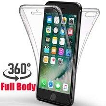 d2386498432 Cuerpo completo de 360 grado funda protectora para iphone X XR XS MAX 10 6  6 S 8 Plus 5S 5 de silicona suave transparente a prue.