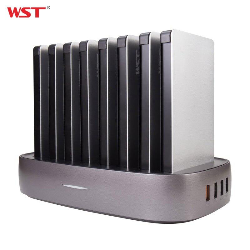 WST Портативный Зарядное устройство станции для Семья общественных Бизнес 8 шт. 8000 мАч Мощность Bank со встроенным зарядки Кабели Зарядное устр