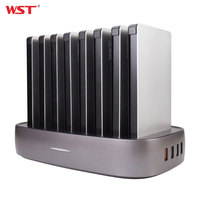 WST Portable Charger Station for Family Public Business 8PCS 8000mAh Power Bank with Built in Charging Cables Charger Station