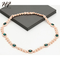 Top Quality N215 AAA CZ Green Crystal Necklace Rose Gold Color Pendant Necklace Jewelry Austrian Crystal Wholesale