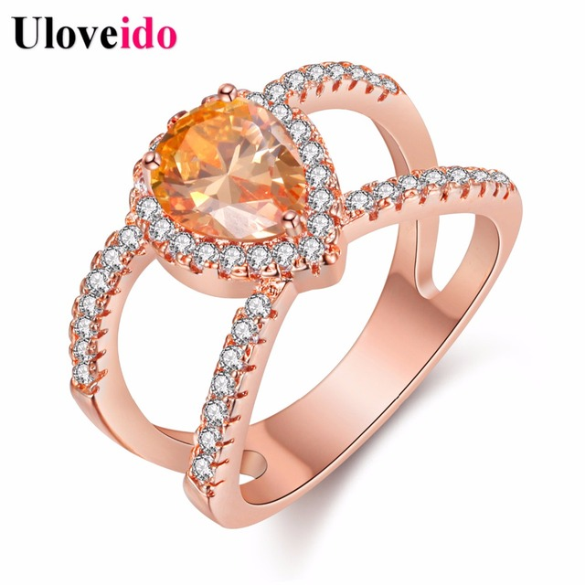 5 Off Uloveido Pink Rose Gold Color Ring With Stone Fashion Rings For Women