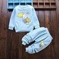 2017 nueva llegada del bebé ropa conjuntos de ropa de algodón para bebés niños pájaro lindo camisetas de manga larga + pantalones de la muchacha del niño ropa