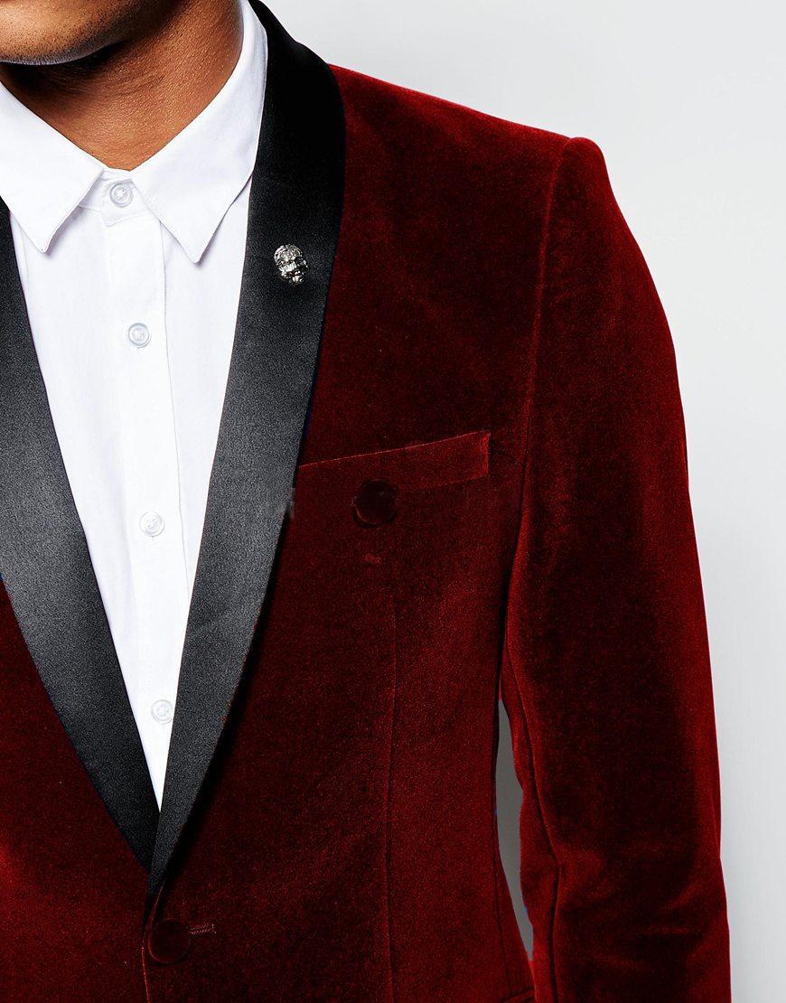 2018 Burgundy Velvet Slim Fit Mens Suits Custom Made Shawl Lapel ...