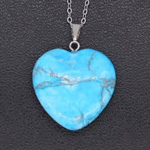 100-Unique 1 Pcs Silver Plated Love Heart Pendant Blue Turquoises Stone Necklace Trendy Jewelry