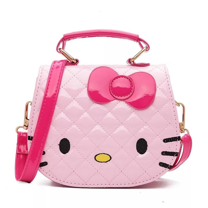 Hello Kitty Bowknot Handbag Cute Mini Bag Children Cartoon Messenger Bags  For Girls Kids Tote Girls Shoulder Bag