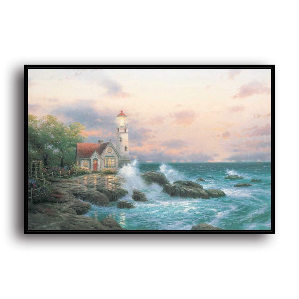H1134 Thomas Kinkade Beacon Of Hope, HD Canvas Print Home decoration Living Room Bedroom Wall pictures Art painting