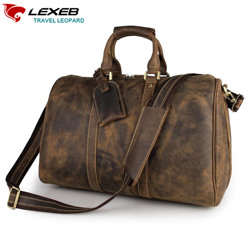 LEXEB Brand Trolley Travel Bag Crazy Horse Leather Weekend Bags Men Business Traveling Duffel High Quality Hands Luggage Brown lexeb brand lawyer briefcase vintage crazy horse leather men laptop bag 15 inches high quality office bags 42cm length brown