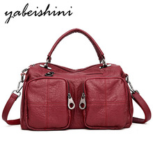Fashion solid color shoulder bag retro ladies female shopping multi-function high quality leather handbag