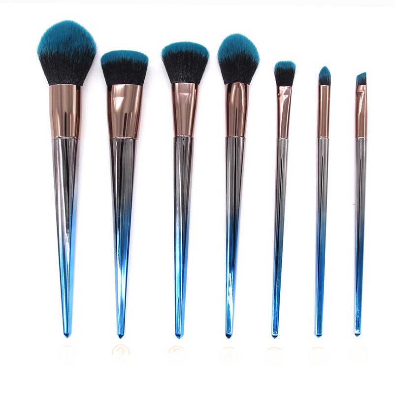 Fashion 7pcs Gradual Change Unicorn Professional Complete Makeup Brushes Kit Blue Grey Color Cosmetic Beauty Make Up Brush Set