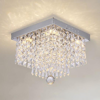 Square Crystal Led Chandeliers For Home Hallway Decorting High Power Support Lighting Fixture