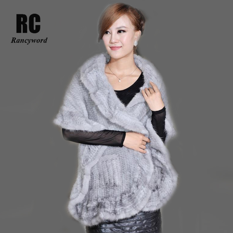 Factory Direct Women Genuine Mink Fur Shawls Natural Mink Fur Cape Real Knitted Mink Fur Wrap Real Mink Fur Scarf DL6190 besty women fashion real fur knitted mink fur wool cap hat with real fox fur ball ear protector genuine sable natural mink fur page 2
