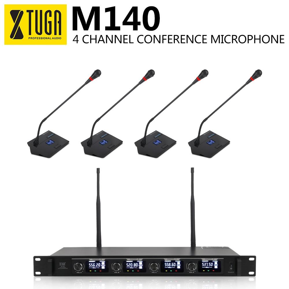 XTUGA M140 UHF 4 canaux professionnel col de cygne Microphone système conférence sans fil micros fréquence fixe pour lieux de réunion