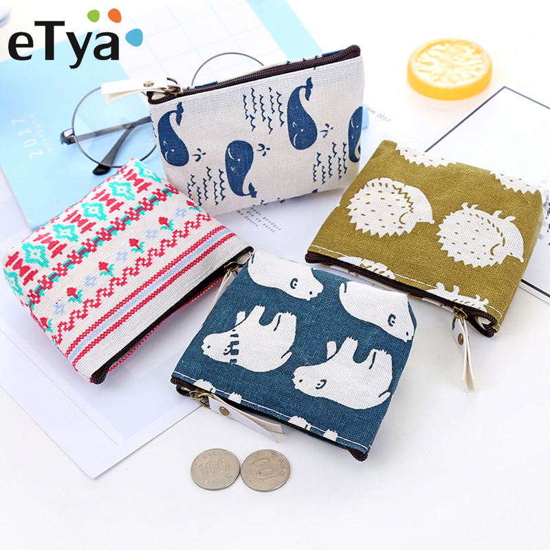 ETya Canvas Women Wallet Card Key Mini Coin Purse Small Money Bag Change Pouch Female Zipper Card Holder Wallet Kids Purses Gift