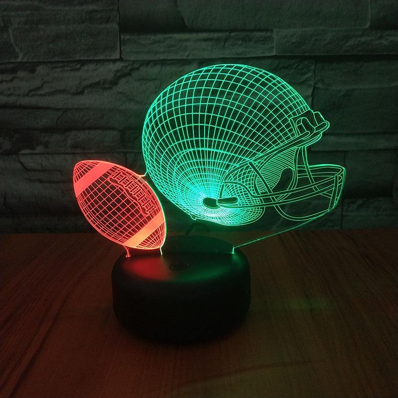 Us 16 79 Off American Football Ball Helmet Night Lamp Hit Color Novelty Lighting Bedroom Decorative Child Kids Gift Led Light In