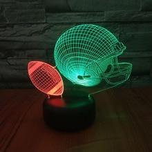 American Football Ball Helmet 3d Night Lamp Hit Color Novelty Lighting Bedroom Decorative Child Kids Gift Led Light