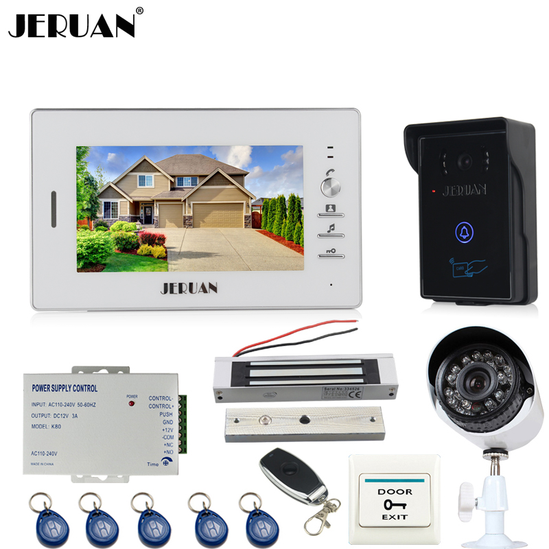 JERUAN Home 7 inch screen Video Door Phone Intercom System waterproof RFID Access Camera + 700TVL Analog Camera +remote control jeruan new 7 video intercom entry door phone system 1monitor 700tvl touch key waterproof rfid access camera remote control