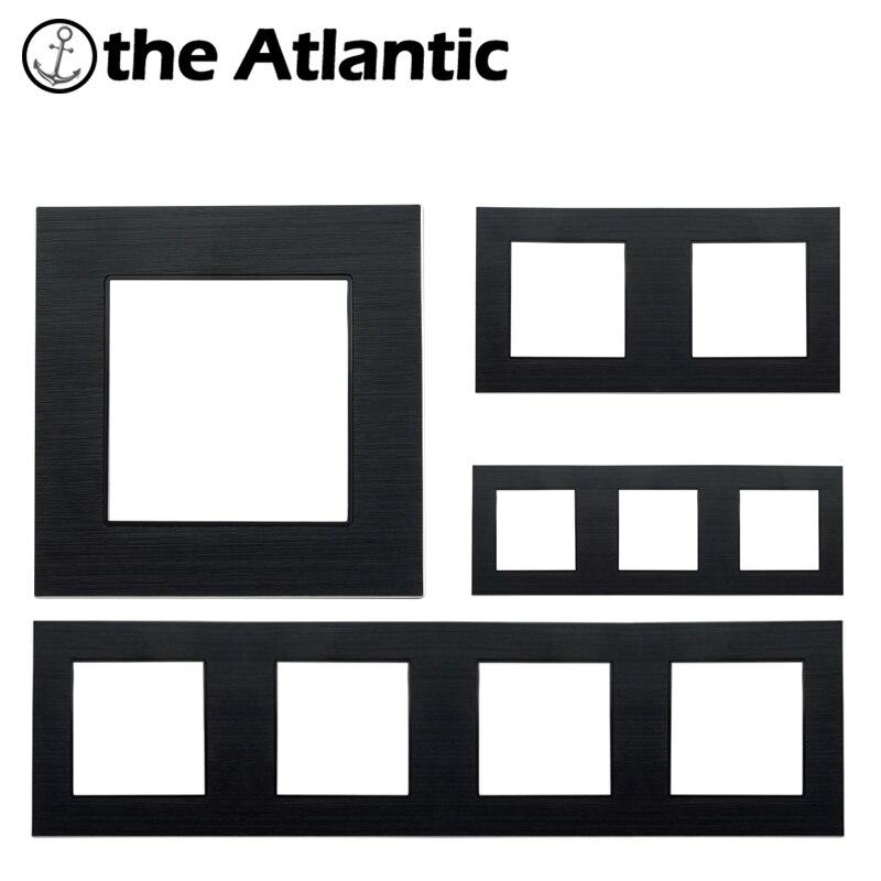 DIY Custom For Wall Switch Socket Only Frame Panel Black Aluminum Metal Panel Frame Singel,Double,Triple,Quadruple Panel