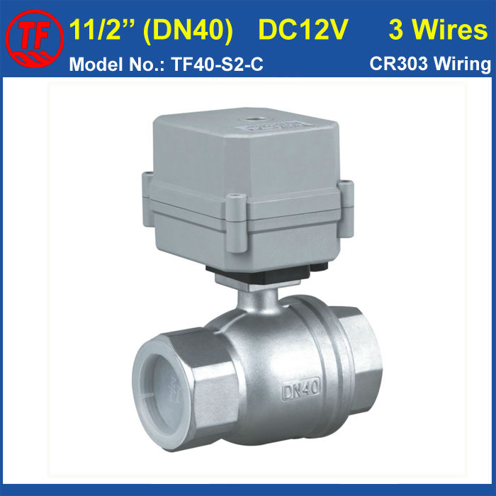 DC12V 3 Wires SS304 11/2'' Full Port 2 Way Electric Water Valve DN40 Motorized Ball Valve With Indicator 10NM On/Off 15 Sec 1 dc12v ss304 3 way l port electric ball valve dn25 2 wires motorized ball valve for water heating