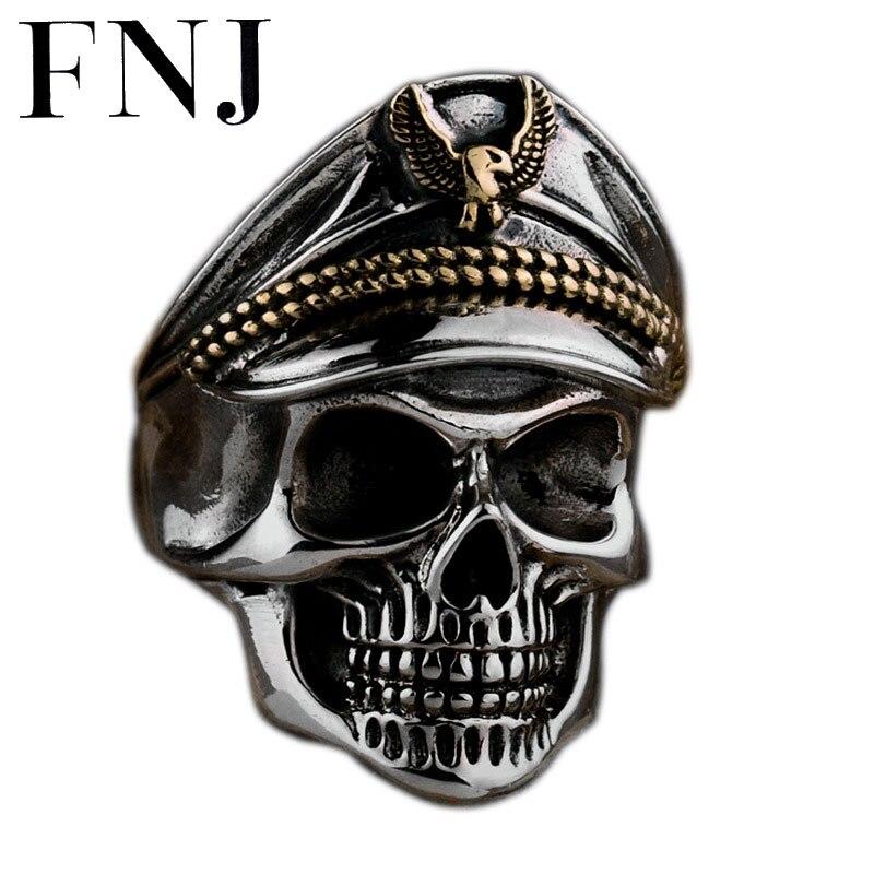 FNJ 925 argent squelette anneau nouveau Punk crâne Original S925 Sterling argent anneaux pour hommes bijoux taille réglable USA 10 12.5-in Anneaux from Bijoux et Accessoires    1