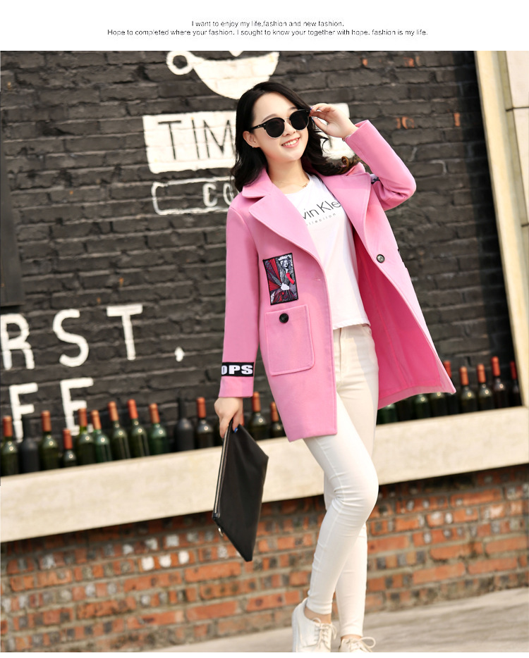 2017 New winter long coats for women coat female print long-sleeve autumn winter wool blend woolen jacket A348