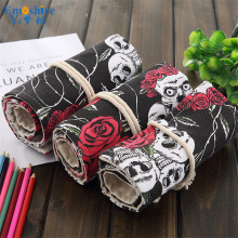 Handmade Rose Skull Head Pencil Case 36/48/72 Pencil Case Hole Large Capacity Student Roll Painting Student Pencil Bag B147(China)